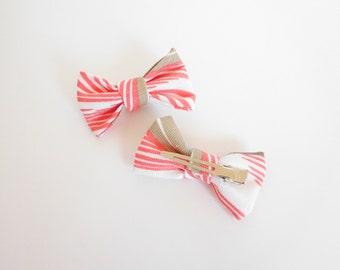 Mini Size - Pink Hair Bow - Unique Hair Bow - White Hair Bow