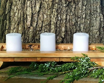 Wood candle tray, Candle display, Candle set, Candle holder, Rustic candle tray, Wood candle holder, Custom candle tray