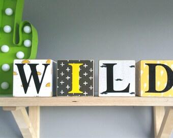 WILD ~ Patterned wood blocks ~ Customised theme, word blocks. 8x8cm x 4 blocks. Personalised.