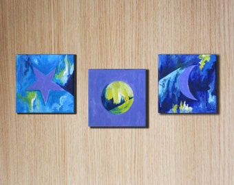 Cute three piece oil painting, original art, room decor. painted by Rina Cohen