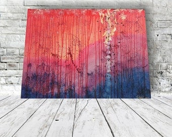 Abstract - acrylic painting 80 x 60 pink Violet Blue evening light