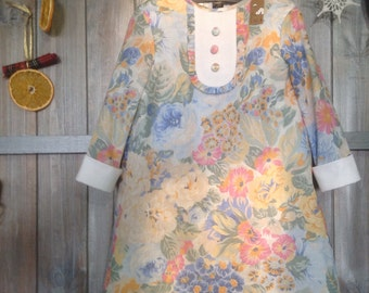 Floral 100% cotton dress for a 104 sm high girl