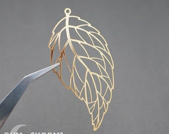 0317 - Pendant Connector, Glossy Gold Plated, Large Long Leaf Vein Filigree Pendant, 2 Pieces