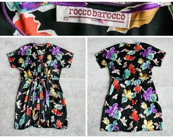 Beautiful 1980's Roccobarocco Silk Flower Dress - Size 42 / Us 8 /  Uk 10