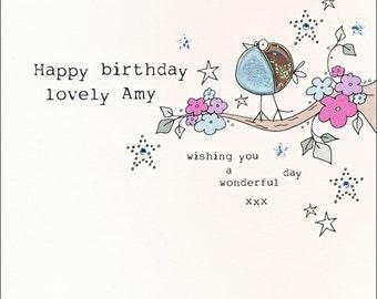 Personalised Birdie Birthday Card