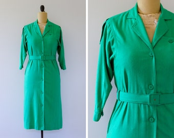 Vintage 1980s Rage Petites Raw Silk Shirt Dress // Made in Canada - Size XS/S