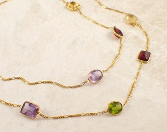 14K Yellow Gold Multicolor Stone Chain