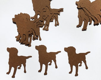 Chocolate labrador die cut embellishments - 20 - for card making , toppers or scrapbooking