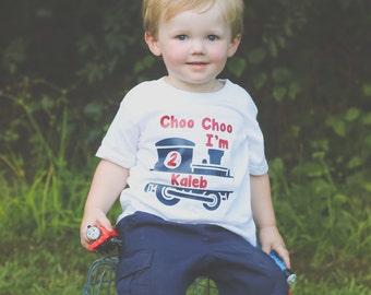 Choo Choo I'm 2, birthday shirt, choo choo I'm 2 tee, personalized birthday tee, Choo Choo I'm 2, 2 year old, two years old, train birthday