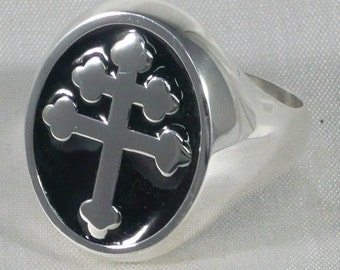 Lorraine cross ring in 925 sterling silver ring 925 Silver Cross of Lorraine Magnum pi
