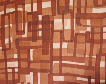 vintage Japanese kimono silk panel, brown geometric on tan