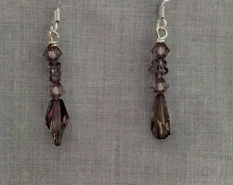 Dusty purple crystal earrings