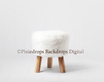 Digital Backdrops/Props (Newborn Photography Prop, White Fur Chair on White backdrop) Digital Download