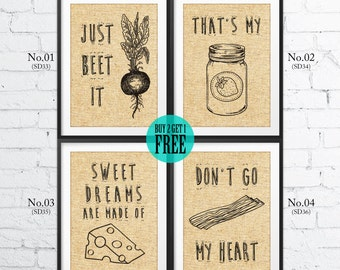 Rustic Kitchen Decor, Ingredients Prints, Bacon, Beet, Cheese, Jam, Cafe Decor, Home Decor, Burlap Print, Housewarming Gift, SD33~36