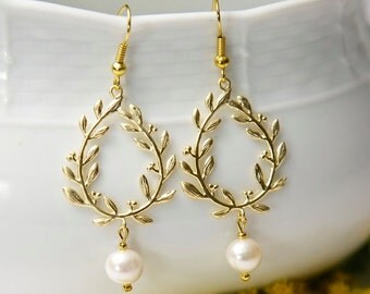 Gold Laurel Earrings, with Swarovski pearls. Gold flower earrings. Gold Pearl Earrings. Gold leaf earrings.
