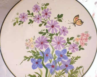 Handpainted Cypriot Decorative Wall Plate - Butterfly and Flowers