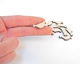 10x Mini Wooden Bird Shapes Wood Birds Embellishment Craft Decoration Gift Decoupage MG000198