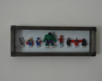 Handmade vintage looking frame - Marvel Avengers minifigures - Ironman, Captain America, Thor, etc..
