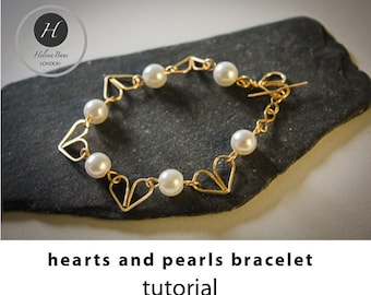 Hearts and pearls bracelet tutorial bridal wire jewelry tutorials diy bracelet tutorial wire bracelet tutorial diy wedding jewelry