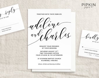 Printable Wedding Invitation | Calligraphy Invitation Suite | Made to Order Header | Modern Calligraphy Invitation | Free RSVP Template