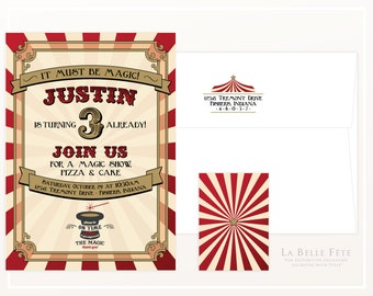 It MUST BE MAGIC Magician / Carnival birthday party invitation