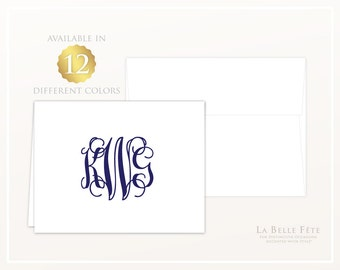 CLASSIC MONOGRAM folded personalized stationery / note cards