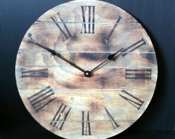 Wall clock with burned wood and slate stain, planked look.