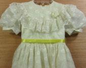 Little Girls Vintage Dress, Girls Ivory Dress, Flower Girl Party Dress, Size 5, Sylvia Whyte