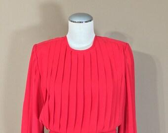 Vintage 70s Dress Red / Vintage Dress / 80s Dress / Pleated Dress / Vintage Peplum Dress / Red Dress