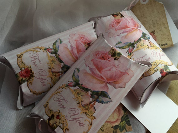 Pink Rose Pillow Box Printable For You Gold Framed Victorian Scrap Shabby Pink Stripe Searsucker ...