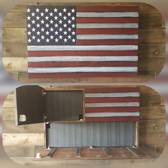 Large Rustic Concealed Weapon Flag Cabinet