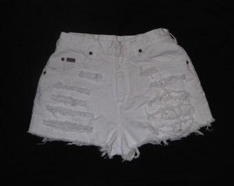 "HALF OFF! Riders Destroyed White Jean Cut-Off Shorts 27"" Waist"