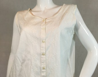 Edwardian Style Vintage Nightingales White Cotton Embroidered Shirt Blouse Summer Top Button Front 14