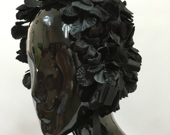 Black 1960s Flower Covered Bonnet Hat Vintage Mod