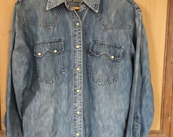 Vintage Western Pearl Button Denim Levi's Shirt 14