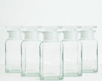 Clear Apothecary Jars (Set of 5), 100 ml (3.4 fl oz)