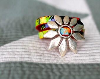 Multicolor wrap bracelet with silver flower