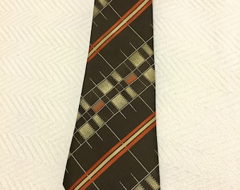 Vintage 1970s 100% Silk Gold Bear Brown, Orange and White Extra Wide Tie