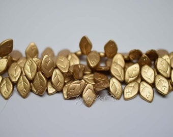 12MMx7MM, Silky Gold, Leaf Beads, Leaves Czech Glass Beads - 1 Strand (Approx 25 Beads)
