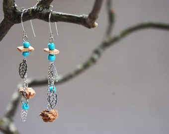 Earrings in steel stainless/dangle earrings asymmetric Cork/earrings / natural/light jewellery jewelry