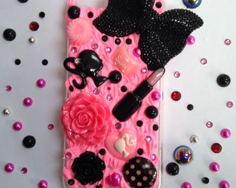 Pink and black cute decoden phone case