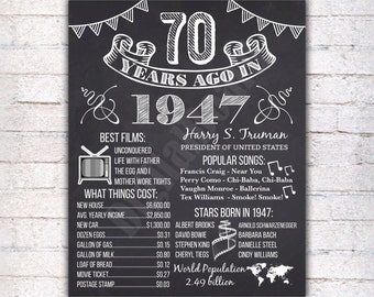 70th Birthday Chalkboard Poster Sign, 70 Years Ago Back in 1947 USA Events, Black & White, Instant Download Digital Printable File - 298