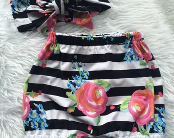Black and white stripe floral bloomer shorts and matching headwrap