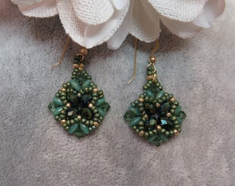 Emerald Green Swarovski Crystal Seed Bead Hand Stitched Earrings in Gold Ear Wires