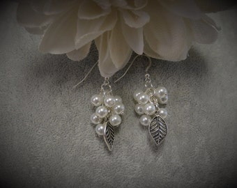 Freshwater Pearl Cluster Earrings with Silver Leaf