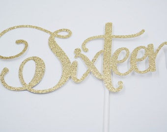 Sweet sixteen cake topper, 16th birthday party, aged cake topper, sweet sixteen
