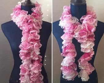 Handmade Crochet Ruffle Scarf - Cotton Candy