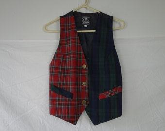 Vintage 80's vest school girl boho two tone red green tartan Scottish plaid spirit of windridge S