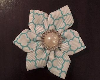 Turquoise quatrefoil petal ribbon flower