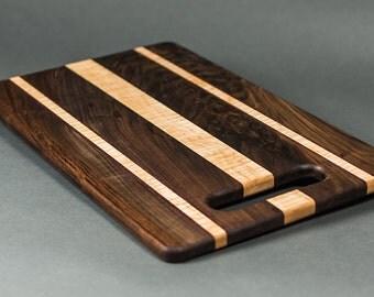12 x 18 Cutting Board - Walnut wood with Curly Maple
